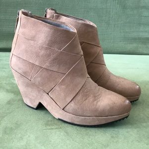 Eileen Fisher Tumbled Suede Ankle Heel Booties